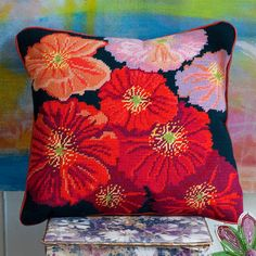 Wild Corn Poppy Midnight Stunning needlepoint design featuring scarlet red, orange and lilac flowers. Needlepoint Designs, Needlepoint Kits, Needlepoint Canvases, Cross Stitch Pillow, Cross Stitch Embroidery, Cross Stitch Patterns, Tapestry Kits, Cross Stitch Flowers, Costumes