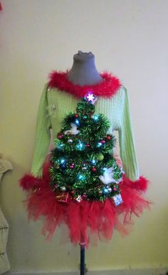 Adorable 2 doves & a Pear in Garland Christmas Tree Ugly Christmas Sweaters Light UP sz L With matching TuTu Tree Skirt w presents Womens by tackyuglychristmas on Etsy
