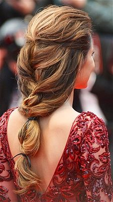 "'Cheryl Cole wore her hair swept off her face, , then loosely plaited into a low ponytail and held together with a couple of ribbons to the ""Jimmy P. (Psychotherapy Of A Plains Indian)"" premiere at the 66th Annual Cannes Film Festival. #braids"