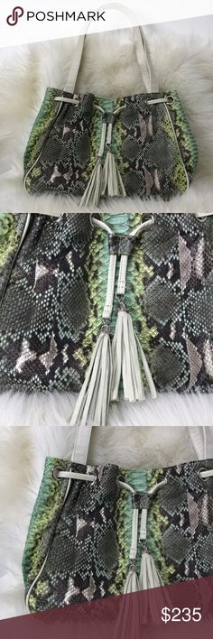 """Blu + Baker green python leather tote bag. Blu + Baker green python leather tote bag.  Perfect condition, never been used.  Hand painted python skin Made in the USA  100% genuine python skin Length 13"""" Height 10"""" Width 4"""" Strap drop 9.5"""" Blu + Baker Bags"""