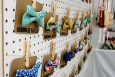 Pegboards to create a clothesline and clothespins to hang accessories