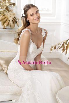 2015 vestidos de boda delgado de la sirena / de la trompeta correas sin hombro con los granos y apliques nueva llegada