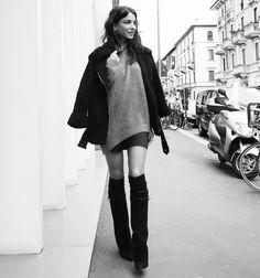 #ChiaraBiasi Chiara Biasi: feeling cozy and comfy while walking to the next show wearing my @rtabrand sweater #milan #mfw