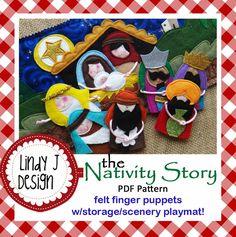 Nativity Finger Puppets/Playmat .PDF pattern
