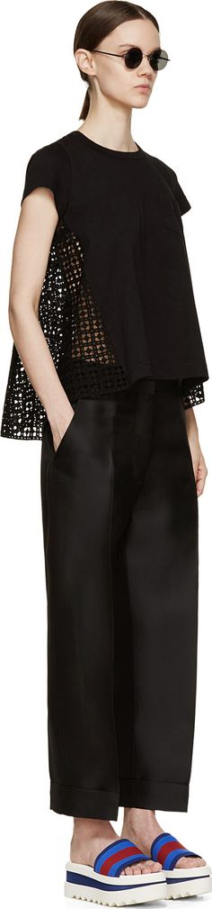 Sacai Luck Black Eyelet Lace Back T-Shirt