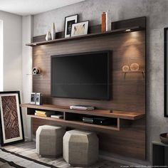 Chic and Modern TV wall mount ideas. Here are 15 best TV wall mount ideas for any place including your living room. Tv Wall Design, Tv Unit Design, Tv Wanddekor, Tv Wall Cabinets, Modern Tv Wall, Muebles Living, Tv Wall Decor, Diy Tv Stand, Living Room Tv