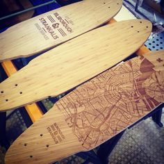 3 of our Bilsborough & Strankalis Bamboo Longboards sanded and oiled, ready…