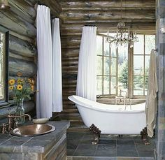 rustic bathroom in-my-dream-house Log Cabin Bathrooms, Dream Bathrooms, Beautiful Bathrooms, White Bathrooms, Luxury Bathrooms, Master Bathrooms, Rustic Cabin Bathroom, Rustic Room, Rustic Theme