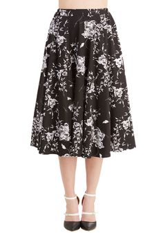 Benefit of the Flounce Skirt in Black Floral. The sky seems to brighten every time you step outside in this cheerful black skirt! #black #modcloth
