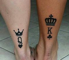Top Matching Tattoos for Couples with Latest King and Queen Tattoo designs. Ewigkeits Tattoo, Tattoo Life, Tattoo Quotes, Queen Tattoo Designs, Crown Tattoo Design, Couples Tattoo Designs, Couple Tattoos Unique Meaningful, Couple Tattoos Love, King Queen Tattoo