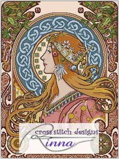 """Borduurpatroon Kruissteek Mucha *Embroidery Cross Stitch Pattern ~""""Lady Bregel"""" van Rinna Ascutia (helaas geen patroon...)~"""