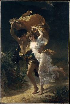 """I first stumbled upon this painting, as well as its partner when a teen. My first outing to MMOA in NYC. I think the hopeless romantic in me was taken by these works; I do not like most of the artwork from the Rococo era. I went to purchase this one as a print, but mistakingly purchased its """"The Swing."""" Still love both of them to this day!    """"The Storm""""  Pierre Auguste Cot, 1874"""