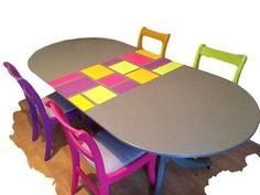 Retro Extendable Dining Table with 4 Chairs. Cupboard, Cabinet, Extendable Dining Table, My Ebay, Pink Purple, Chairs, Hand Painted, Contemporary, Retro