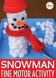 If you are looking for winter theme activity ideas for your kids, this fun snowman fine motor activity will fit the bill. The snowman is easy to craft from a plastic bottle. Kids enjoy filling the snowman with snow and attaching eyes, nose, mouth, and accessories. Perfect for you winter theme lesson plans and snowman theme lesson plans in preschool, pre-k, and kindergarten. Winter activities for kids, snowman craft, snowman activities, fill the snowman
