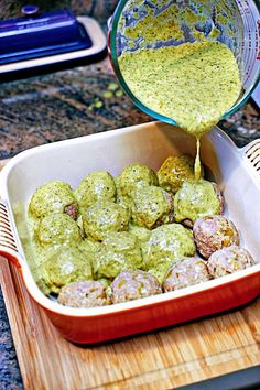 Stuffed Green Chili Meatballs in Tomatillo Sauce. Ok- didn't stuff them with cheese and they were still delicious. When making the tomatillo sauce- add one lime and some salt. I put them over some cilantro rice and they were amazing! Meatball Recipes, Beef Recipes, Cooking Recipes, Healthy Recipes, Recipies, Sauce Recipes, Advocare Recipes, Healthy Meals, Tomatillo Sauce