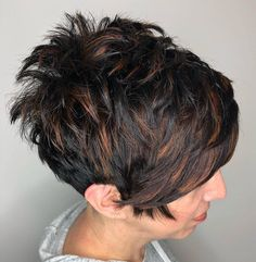 """Hair Beauty - Spiky Black Pixie With Copper Highlights Short Shag Hairstyles That You Simply Can't Miss"""", """"Dark Pixie with Cinnamon Strea Short Shag Hairstyles, Hairstyles Haircuts, Cool Hairstyles, Layered Hairstyles, Hairstyle Ideas, Bob Hairstyle, Short Stacked Haircuts, Teenage Hairstyles, Pixie Haircuts"""