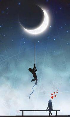 Illustration of Amorous exploits, love background vector art, clipart and stock vectors. Art Soleil, Beautiful Moon, Moon Art, Stars And Moon, Belle Photo, Night Skies, Good Night, Urban Art, Moonlight