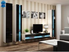 Meuble TV design noir à led Vero. Un meuble très contemporain mais qui n'oubli…