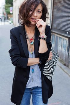 Jeans, tie up shoes, revealing shirt, blazer, layered necklaces, summer, spring