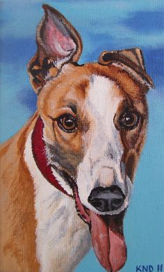 Greyhound Miniature Painting with Easel by aBrushWithLove