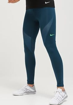 Nike Performance - PRO HYPERCOOL - Tights - midnight turquoise/light green spark