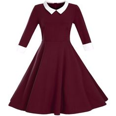Half Sleeve Doll Collar Color Block Plus Size Flared Dress (£35) ❤ liked on Polyvore featuring dresses, plus size purple dress, doll dress, plus size babydoll dress, women plus size dresses and collar dress