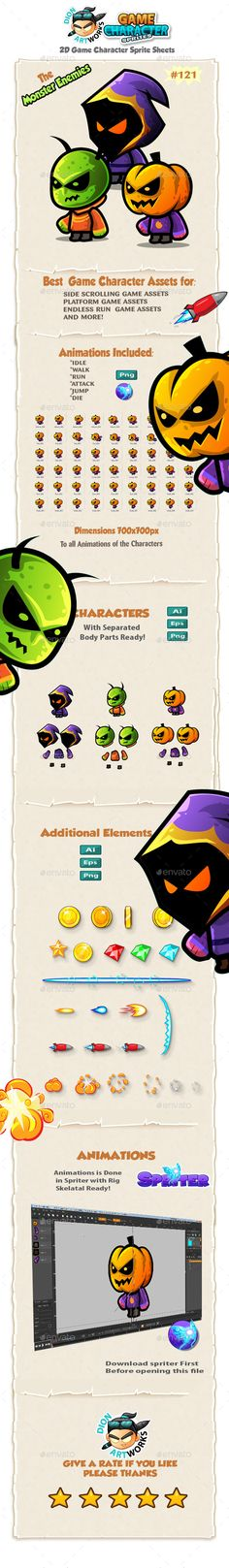Monster Enemies 2D Game Character Sprites 121 — Vector EPS #halloween #monsters • Available here → https://graphicriver.net/item/monster-enemies-2d-game-character-sprites-121/13245255?ref=pxcr