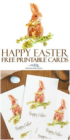 Send these Happy Easter Printable Greeting Cards to family & friends. A free digital download featuring a watercolor bunny.  Simply print, cut and send!  via @adrake606