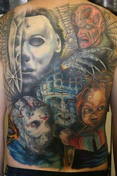 Zombie and horror tattoos on pinterest for Back mural tattoos