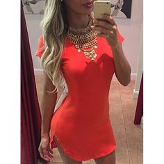 Wholesale Alluring Round Neck Short Sleeve Solid Color Asymmetrical Women's Dress Only $4.17 Drop Shipping | TrendsGal.com