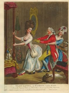 Satire: a husband, servant-maid and black page-boy join forces to tug the laces of the bodice of a lady dressing for the evening in macaroni costume.  1777?  Hand-coloured mezzotint