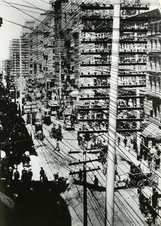 Telephone pole line construction in New York, c. 1903 | Photos from the Days When Thousands of Cables Crowded the Skies