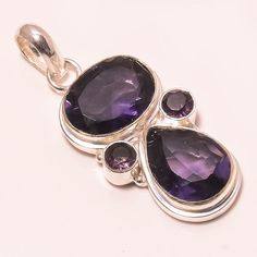 """14 GM AMAZING FACETED IOLITE, AMETHYST .925 STERLING SILVER PENDANT 1.97"""" #Handmade #Pendant"""