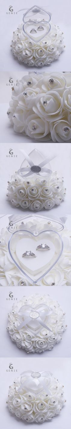 Genie Cake Shape Rose Flowers Ring Box Romantic Wedding Jewelry Case Ring Bearer Wedding Pillow Cushion Decor Ring boxes 2017