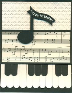 Word window (piano keys), sm oval punch and bitty banner framelit (for note), Happiest B'day Wishes (used part of sentiment that fits nicely in framelite), Houndstooth EF, Modern Medley DSP.