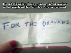 Envelope of money for the orphans