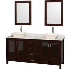 """Wyndham Collection WCV01572ESCWD28BN Lucy 72"""" Double Bathroom Vanity Set with White Carrera Marble Countertop, Bone Procelain Vessel Sinks, Four Tinted Glass Doors, Six Drawers and 2 Matching Mirrors in Espresso"""