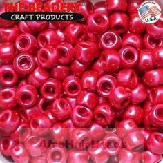 The Beadery Pony Beads 9x6mm Parelmoer Rood