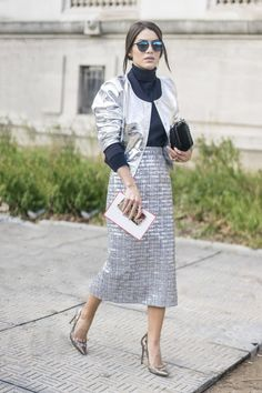 Pin for Later: 47 Easy-Breezy Spring Outfits You Can Wear to Work A Metallic Jacket and a Matching Pencil Skirt