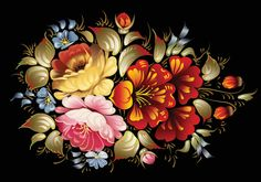 Colorful Floral Folk Art Vector Painting - http://www.dawnbrushes.com/colorful-floral-folk-art-vector-painting/