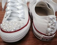 Youth Pearl Converse / kids converse / white converse/  vintage  / unique sneakers / pearl chucks / bling converse