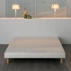 Sommier tapissier REKENNE + pieds - 11 lattes fixes - Epaisseur 12 cm - Coutil 100% polyester