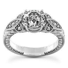 2 Ct Diamond Engagement Ring Round Cut 14K White Gold Enhanced D/SI1 #ArtOfDiamonds #SolitairewithAccents