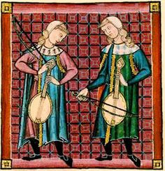 Prendas de abrigo: capa o manto y redondel. Two musicians playing stringed instruments.