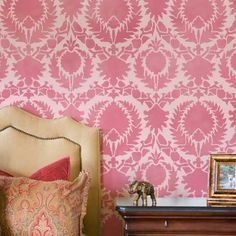 So many ideas for using this stencil in different colorways.... Suzani/Ikat inspired Wall Stencil | Silk Road Suzani Stencil | Royal Design Studio