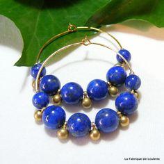 Navy Blue Hoop Earrings Summer Hoops Gold by LaFabriqueDeLoulette