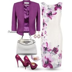 A fashion look from April 2015 featuring Jacques Vert dresses, Jacques Vert jackets i Christian Louboutin pumps. Browse and shop related looks. Classy Outfits, Chic Outfits, Beautiful Outfits, Dress Outfits, Fashion Dresses, Dress Up, Pink Dress, White Dress, Work Fashion