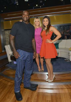 "The big diesel Shaquille O'neal hanging with ""Fox & Friends"" co-host Elisabeth Hasselbeck and singer/songwriter Jordin Sparks at FOX studios in the NYC."