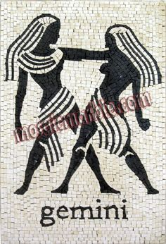 Mosaics - Other Themes - Horoscopes - Mosaic) Gemini, Zodiac Horoscope, Mosaic Patterns, Mosaic Art, Zodiac Signs, Celtic, Cards, Piercings, Mosaics