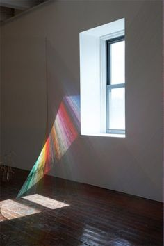 hundreds of threads make a rainbow, installation by Mark Garry